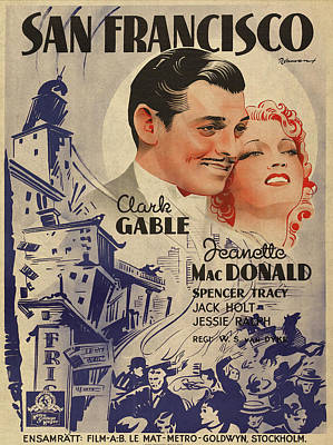 Clark Gable San Francisco Vintage Classic Movie Promotional Poster Art Print by Design Turnpike