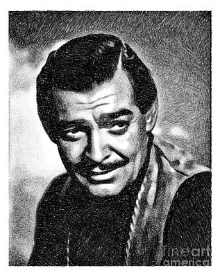 Musicians Drawings - Clark Gable, Vintage Actor by JS by Esoterica Art Agency