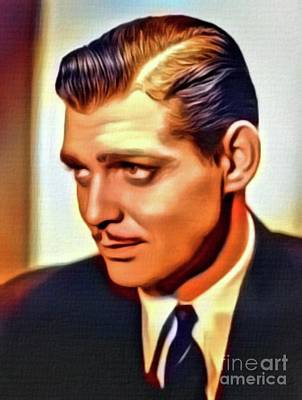 Fine Dining - Clark Gable, Vintage Hollywood Actor. Digital Art by MB by Esoterica Art Agency