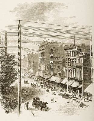 Drawing Of A Horse Drawing - Clark Street, Chicago, Illinois In by Vintage Design Pics