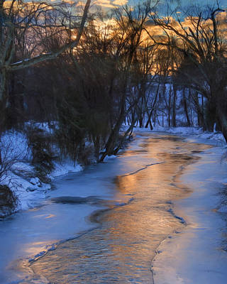 Wintry Landscape Photograph - Clarks Creek Sunset by Lori Deiter