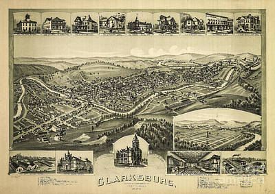 Photograph - Clarksburg West Virginia 1889 by Melissa Messick