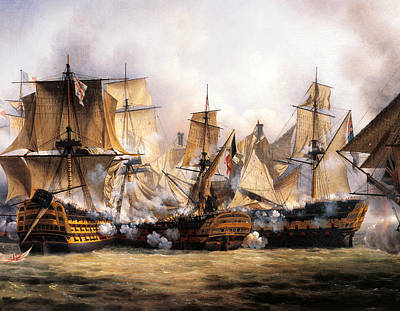 Of Pirate Ship Painting - Clash Between English Temeraire And French Redoubtable Ships During Battle Of Trafalgar by Unknown