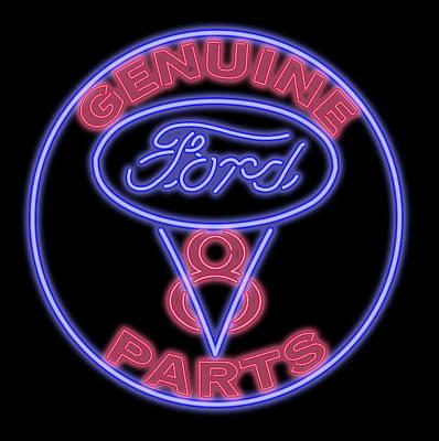 Digital Art - Classic Ford V8 Neon Sign by Ricky Barnard