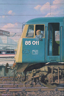 Painting - Class 85 Electric Locomotive At Euston Station by Martin Davey