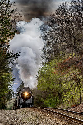 Photograph - Class J 611 Steam Engine Approaching Black Mountain by John Haldane