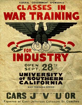 Classes In War Training For Industry - Vintage Poster Folded Art Print