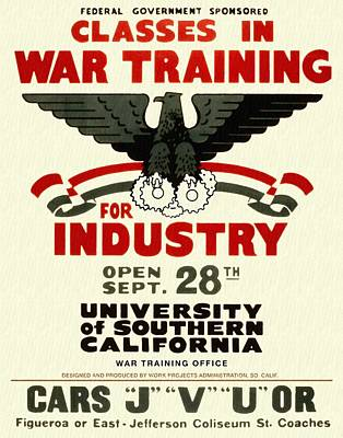 Classes In War Training For Industry - Vintage Poster Restored Art Print
