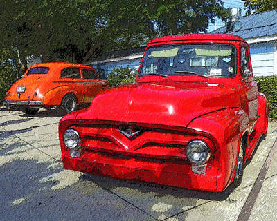 Photograph - Classic 1940 Chevy Sedan Old Ford V8 Truck by Rebecca Korpita