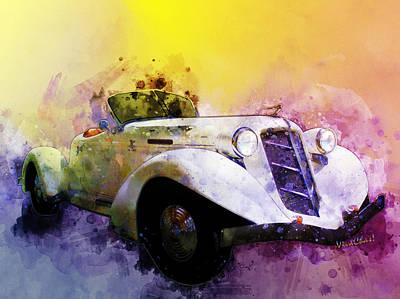 Digital Art - Classic 36 Auburn Speedster Watercolour by Chas Sinklier
