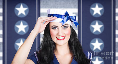 Classic 40s Pin Up Navy Girl Saluting With Smile Art Print