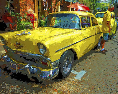Photograph - Classic 56 Chevy Car Yellow  by Rebecca Korpita