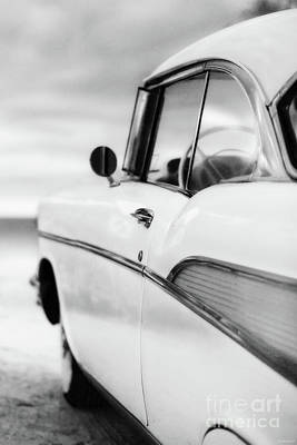 Photograph - Classic 57 Chevy Bel Air At The Beach Black And White by Edward Fielding