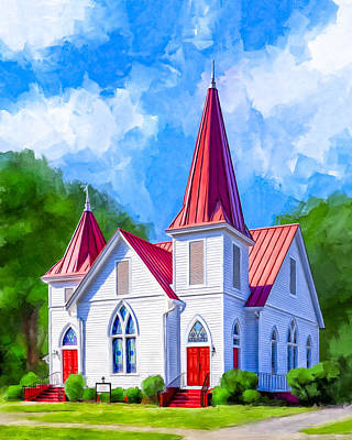 Mixed Media - Classic American Church - Oglethorpe Lutheran by Mark Tisdale