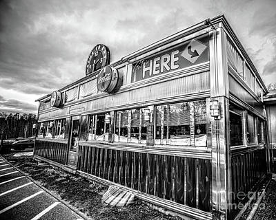 Photograph - Classic American Diner Black And White by Edward Fielding