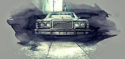 Digital Art - Classic American Ford Car - Vintage Style Collage Art by Wall Art Prints