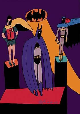 Classic Batman, Robin And Batgirl Art Print by John Lavernoich