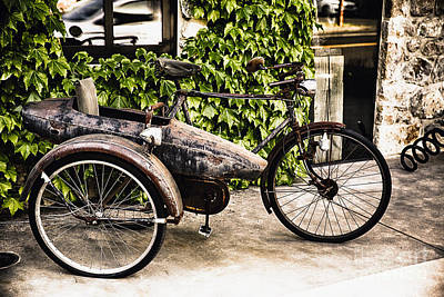 Classic Bicycle With A Side Car In Napa Valley Art Print by George Oze