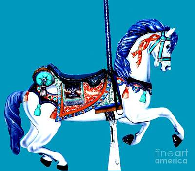 Psovart Painting - Classic Blue Carousel Horse by Patty Vicknair