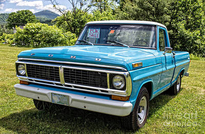 Photograph - Classic Blue Ford Pickup Truck by Edward Fielding