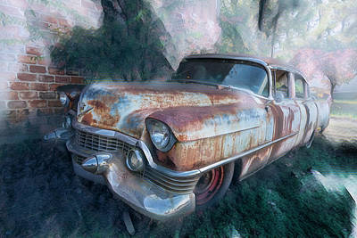 Photograph - Classic Cadillac Coming Out by Debra and Dave Vanderlaan