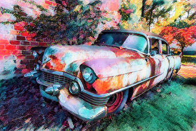Photograph - Classic Cadillac In Watercolors by Debra and Dave Vanderlaan