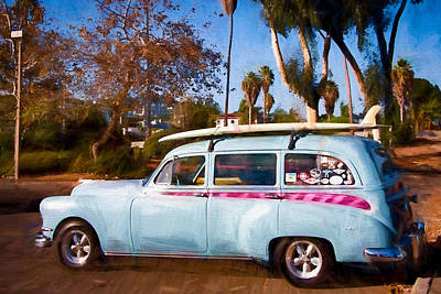 Surf Rack Digital Art - Classic Car And Surfboard by Vivian Frerichs
