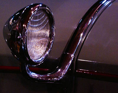 Classic Car Head Light Art Print by Karen Hanley Colbert