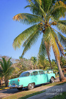 Classic Car In Playa Larga Art Print