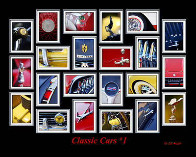 Historic Vehicle Photograph - Classic Car Montage Art 1 by Jill Reger