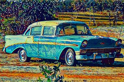 Digital Art - Classic Car On An Old Dirt Road by David MCKINNEY