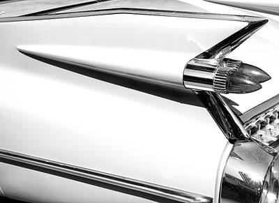 Photograph - Classic Car Tail Fins Black White by Theresa Tahara
