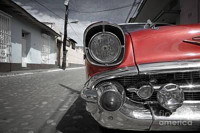 Headlight Photograph - Classic Car - Trinidad - Cuba by Rod McLean