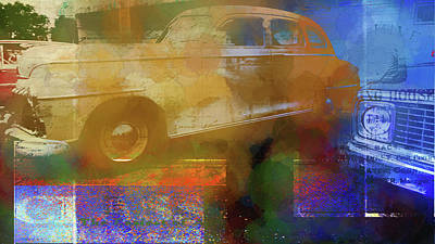 Digital Art - Classic Cars Abstract by Cathy Anderson
