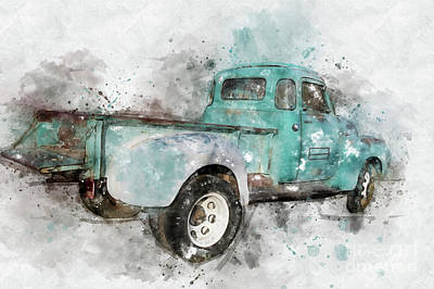Mixed Media - Classic Chevrolet 3800 Truck by Teresa Zieba