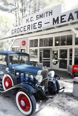 Classic Chevrolet Automobile Parked Outside The Store Art Print by Mal Bray