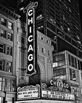 Photograph - Classic Chicago Theater In Black And White by Frozen in Time Fine Art Photography