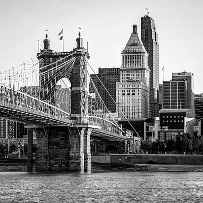 Photograph - Classic Cincinnati Skyline - Black And White Square Format by Gregory Ballos