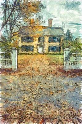 Classic Colonial Home In Autumn Pencil Art Print by Edward Fielding