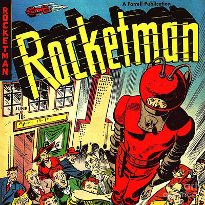 Photograph - Classic Comic Book Cover Rocketman June Square by Wingsdomain Art and Photography