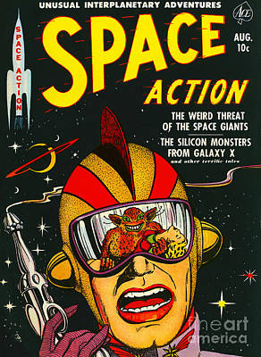 Photograph - Classic Comic Book Cover Space Action August by Wingsdomain Art and Photography