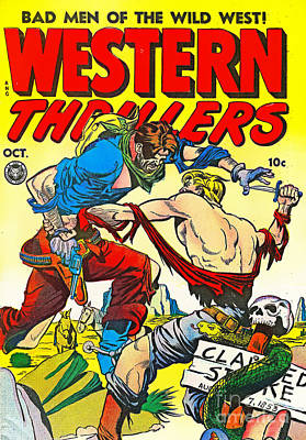 Photograph - Classic Comic Book Cover Western Thrillers October by Wingsdomain Art and Photography