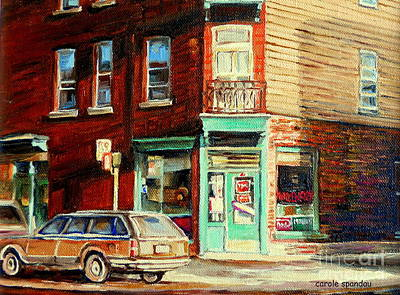 Painting - Classic Corner Deli Montreal Memories Wilensky Diner Paintng City Street Scenes Canadian Art by Carole Spandau