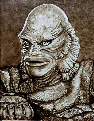 Painting - Classic Creature From The Black Lagoon by Al  Molina