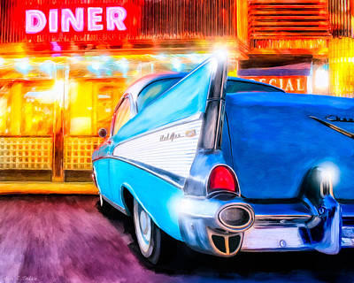 Art Print featuring the mixed media Classic Diner - 57 Chevy by Mark Tisdale