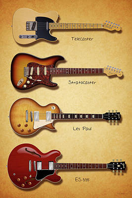 Digital Art - Classic Electric Guitars by WB Johnston