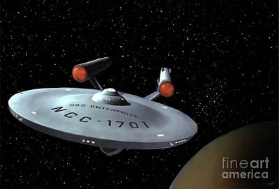 Star Trek Digital Art - Classic Enterprise by Paul Tagliamonte