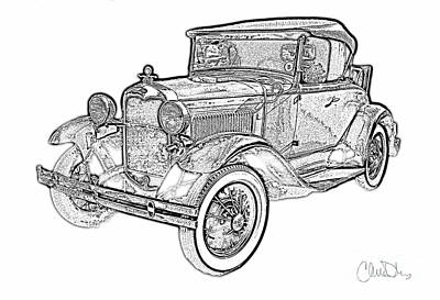 Ford Model A Drawing - 1930 Classic Ford Convertible With Rumble Seat Pencil Drawing by Christine Dekkers