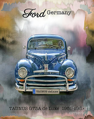 Mixed Media - Classic Ford Taunus Deluxe by Gabriele Pomykaj