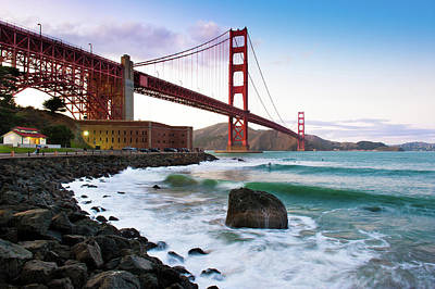 Building Exterior Photograph - Classic Golden Gate Bridge by Photo by Alex Zyuzikov